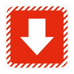 PARROT SIGN SYMBOLIC 150*150mm RED ARROW ON WHITE ACP