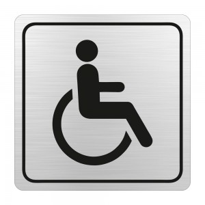PARROT SIGN SYMBOLIC 150*150mm BLACK PRINTED DISABLED TOILET SIGN ON BRUSHED ALUMINUM ACP