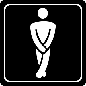 PARROT SIGN SYMBOLIC 150*150mm WHITE PRINTED GENTS TOILET SIGN ON BLACK ACP