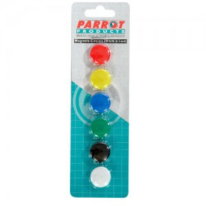 PARROT MAGNETS CIRCLE 20mm (6/CARD) ASSORTED