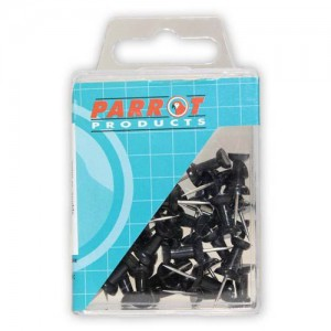 PARROT PUSH PINS CARDED PACK 30 BLACK