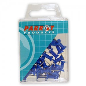 PARROT PUSH PINS CARDED PACK 30 BLUE