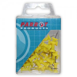 PARROT PUSH PINS CARDED PACK 30 YELLOW