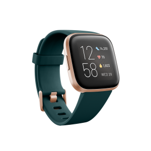 Fitbit Versa 2 Smartwatch - Emerald/ Copper Rose (with Small and Large Bands)