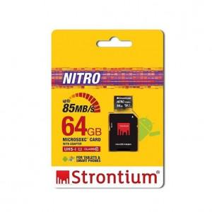 Strontium SRN64GTFU1QA 64GB Nitro Micro SD Card with SD Adaptor Up To 85MB/s