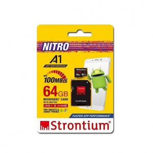 Strontium SRN64GTFU3A1A 64GB Micro SDXC UHS-1 U3 Class10 Card with SD Adaptor