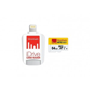 Strontium SRN64GTFU1D 64GB Micro SD Card With Idrive Reader For Apple