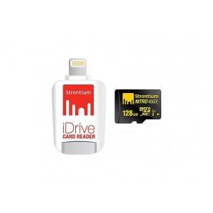 Strontium SRN128GTFU1D 128GB Micro SD Card With Idrive Reader For Apple