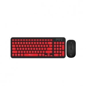 Alcatroz A2000BR A2000 Black & Red Wireless Keyboard Mouse Combo