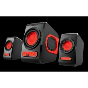 SonicGear Quatro V - USB Powered 2.1 Speaker Black and Festive Red