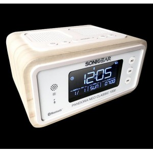 SonicGear Pandora Neo Classic 1000 Bluetooth Alarm Clock Radio Silver Birch