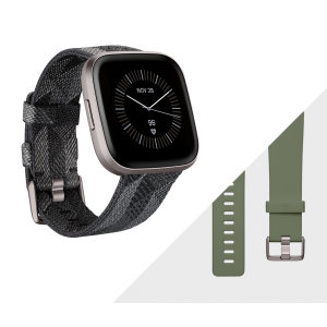 Fitbit Versa 2 Smartwatch Special Edition - Smoke Woven/ Mist Gray Aluminium (with Small and Large Bands)