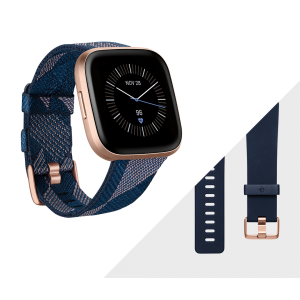 Fitbit Versa 2 Smartwatch Special Edition - Navy Pink Woven/ Copper Rose Aluminium (with Small and Large Bands)