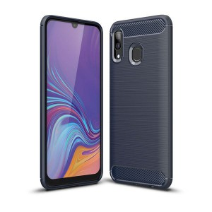 Tuff-Luv Carbon Fibre Style Armour Case for Galaxy A20 - Blue