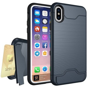 Tuff-Luv Shockproof Dual Layer Armour Case (with Stand & Card slot)  for Apple iphone XS Max Navy