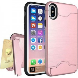Tuff-Luv Shockproof Dual Layer Armour Case (with Stand & Card slot)  for Apple iPhone XS Max Rose Gold