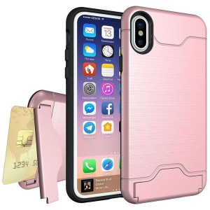 Tuff-Luv Shockproof Dual Layer Armour Case (with Stand & Card slot) for Apple iPhone X/XSRose Gold