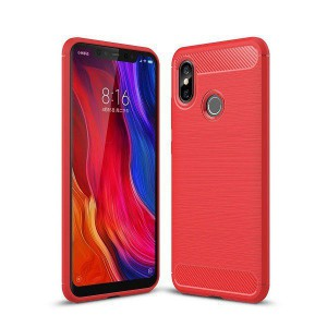 Tuff-Luv Carbon Fibre Style Case Xiaomi Mi 8 - Red