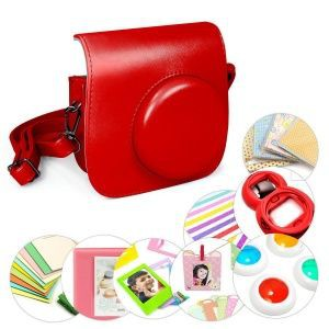 Tuff-Luv 9 in 1 Instax Mini 8 Instant Film Camera Accessories Bundles - Red
