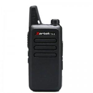 Zartek  TX-8 SINGLE two-way UHF handheld transceiver Radios with  2 Pin Side Jack Blister pack