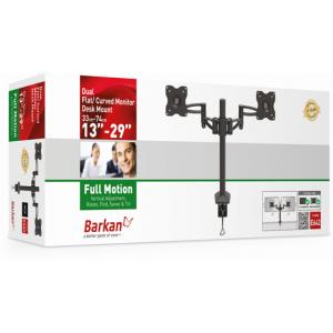 Barkan BRA642B Dual 5 Movement Monitor Desk Mount