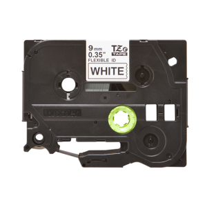 Brother TZE FX221 Labelling Tape Cassette - 9mm Black on White Flexible ID Tape 8m