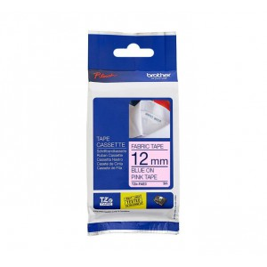 Brother TZE FAE31 12mm Iron-on Fabric Tape Blue on Pink 3m