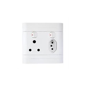 Lesco Pipelli Flush Monobloc Single Switch Socket with Single IEC Socket - Single three-pin wall plug with Vertical switch , One