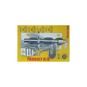 Noble Lockable Pad Bolt latch 125mm Zinc Plated- Can be installed horizontally or vertically, Rust and Corrosion resistant for d