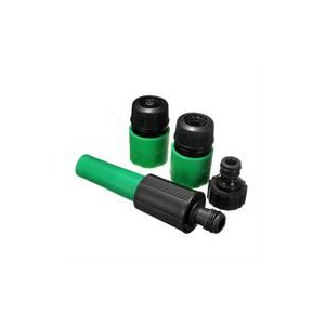 Noble 4Pcs Garden Hose Fitting Set - Adjustable Spray Nozzle, Female fitting, to attach to tap connector and hosepipe, Female st