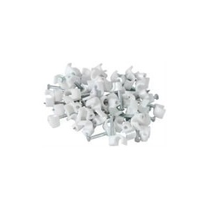 Noble Round Cable Clips 6mm-White 100 Pieces per pack, Retail Packaging, 3 Months Warranty
