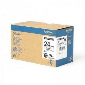 Brother TZE HGE251V5 Labelling Tape Cassette - 24mm Black on White 5x Value Pack