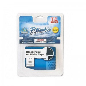 """Compatible Brother TZ251 1"""" P-Touch TZ Laminated Tape, White"""