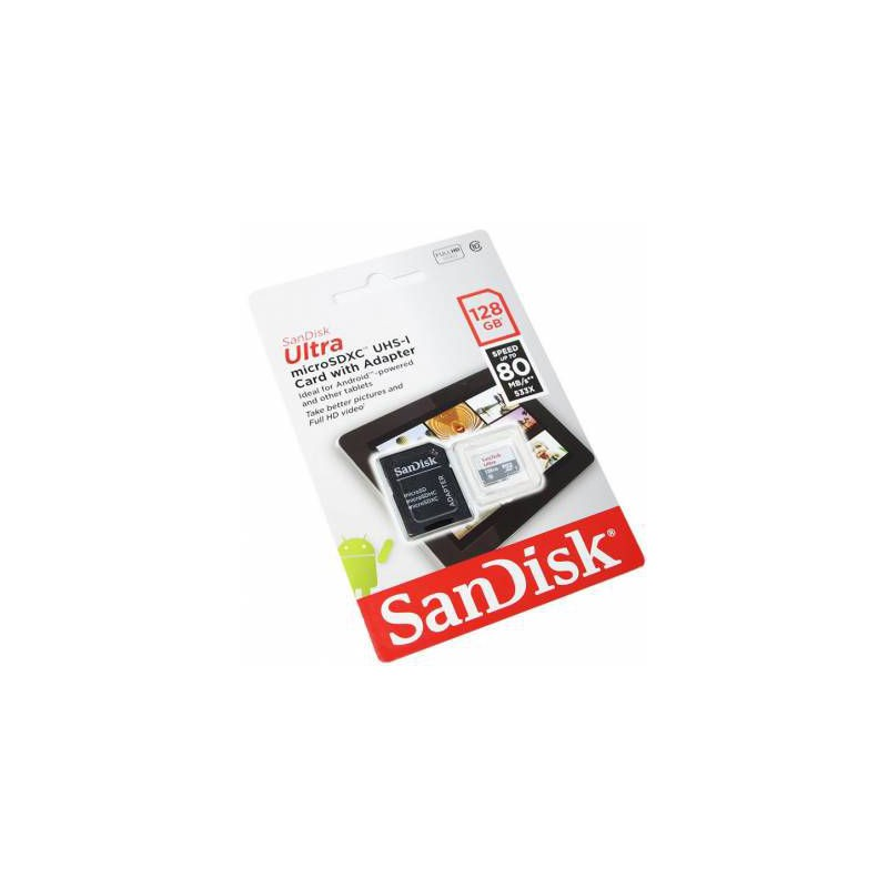 Sandisk Ultra Android 128GB 80MB/s Class 10 microSDXC Memory Card + SD Adapter