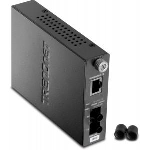 TRENDnet 100Base-TX to 100Base-FX Multi Mode ST Fiber Converter (2 Km, 1.2 Miles) TFC-110MST (Black)