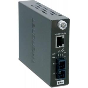 TRENDnet 100Base-TX to 100Base-FX Single Mode SC Fiber Converter (30 Km 18.6 Miles) TFC-110S30 (Black)