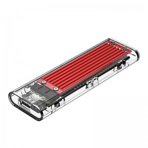 Orico M.2 NVME (2230/2242/2260/2280) to USB3.1(Device Input) Gen-2 Type-C(Enclosure Side) Transparent SSD Enclosure (2TB Max) - Red Heatsink