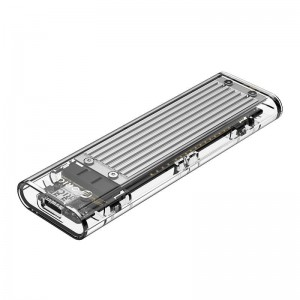 Orico M.2 NVME (2230/2242/2260/2280) to USB3.1(Device Input) Gen-2 Type-C(Enclosure Side) Transparent SSD Enclosure (2TB Max) - Silver Heatsink