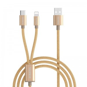 Romoss 2in1 USB to Lightning|Type C 1.5m Cable - Gold