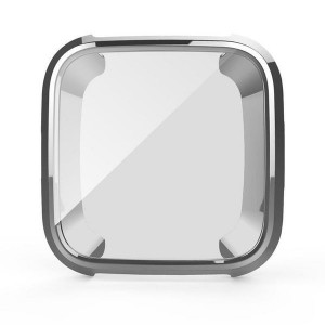 Fitbit Versa Bumper Protective Case and Screen Protector - Silver