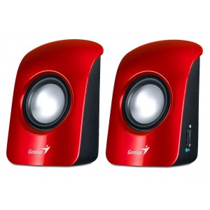 Genius S115 Speakers - 2.0 Channel, 1W RMS, Volume Control, Headphone Jack, USB Powered, Ideal for Notebooks & PC - Red