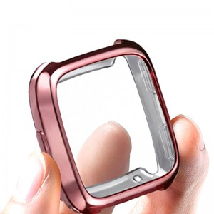 Fitbit Versa Bumper Protective Case and Screen Protector - Rose Gold