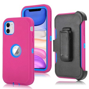 Tuff-Luv Armour-Tuff Rugged Case (With Removable Belt Clip) for Apple iPhone 11- Pink/Blue