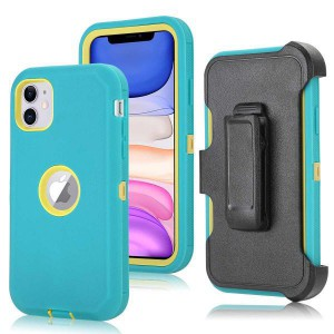 Tuff-Luv Armour-Tuff Rugged Case (With Removable belt Clip) for Apple iPhone 11 - Turquoise/Yellow