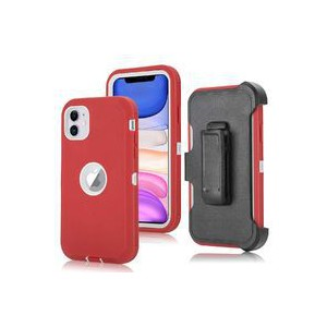Tuff-Luv Armour-Tuff Rugged Case (With Removable belt Clip) for Apple iPhone 11 - Red/White