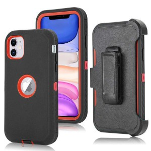 Tuff-Luv Armour-Tuff Rugged Case (With Removable belt Clip) for Apple iPhone 11 - Black/Red
