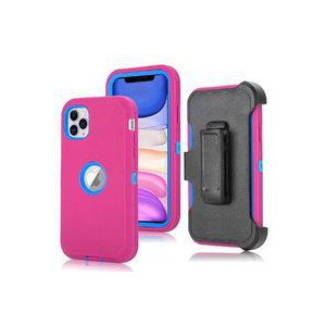 Tuff-Luv Armour-Tuff Rugged Case (With Removable belt Clip) for Apple iPhone 11 Pro - Pink/Blue