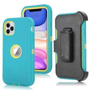 Tuff-Luv Armour-Tuff Rugged Case (With Removable belt Clip) for Apple iPhone 11 Pro - Turquoise/Yellow