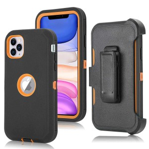 Tuff-Luv Armour-Tuff Rugged Case (With Removable belt Clip) for Apple iPhone 11 Pro (Black/Orange)