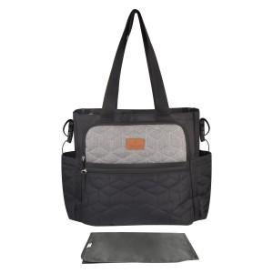 Totes Babe Caricia 22L Diaper Tote Bag - Blk/Grey